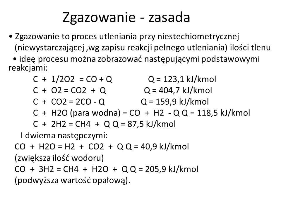 Zgazowanie - zasada Zgazowanie to proces utleniania przy niestechiometrycznej (niewystarczającej,wg zapisu reakcji pełnego utleniania) ilości tlenu id
