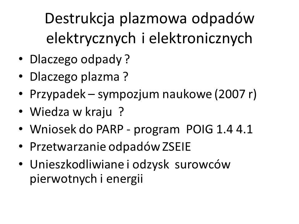 Destrukcja plazmowa odpadów elektrycznych i elektronicznych Dlaczego odpady ? Dlaczego plazma ? Przypadek – sympozjum naukowe (2007 r) Wiedza w kraju