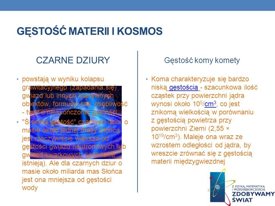 GĘSTOŚĆ MATERII I KOSMOS CZARNE DZIURY powstają w wyniku kolapsu grawitacyjnego (zapadania się) gwiazd lub innych masywnych obiektów, formując tzw. os