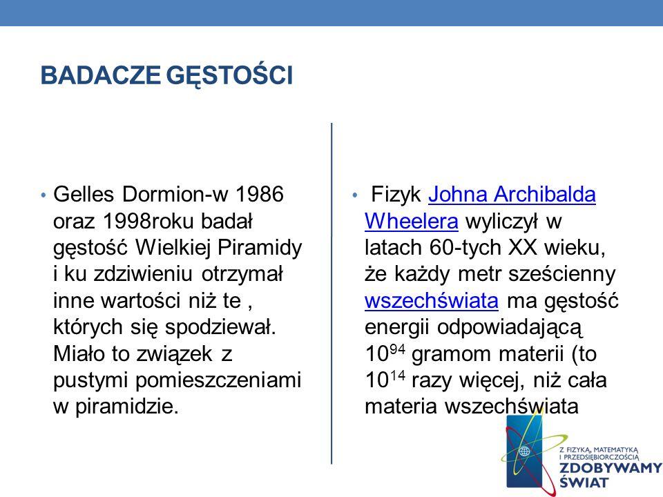 BADACZE GĘSTOŚCI Gelles Dormion-w 1986 oraz 1998roku badał gęstość Wielkiej Piramidy i ku zdziwieniu otrzymał inne wartości niż te, których się spodzi