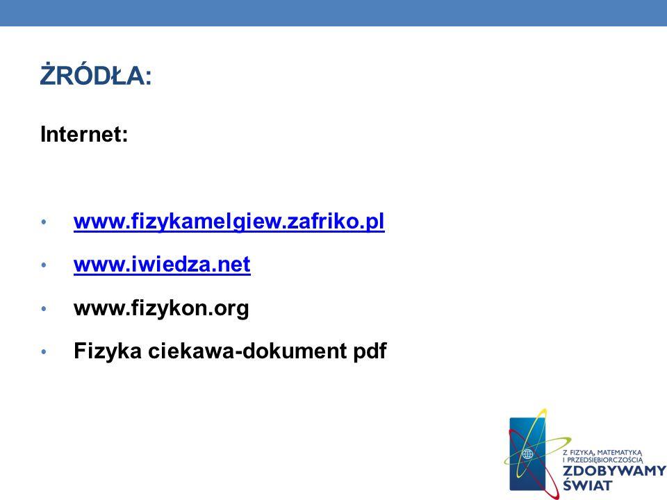 ŻRÓDŁA: Internet: www.fizykamelgiew.zafriko.pl www.iwiedza.net www.fizykon.org Fizyka ciekawa-dokument pdf