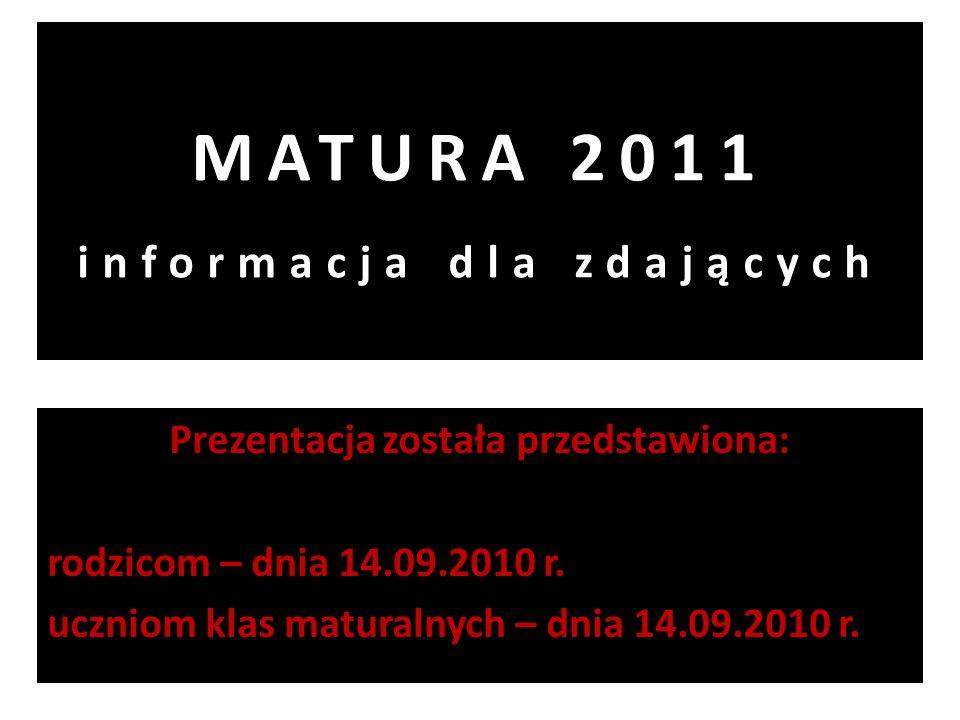 MATURA 2011 informacja dla zdających Prezentacja została przedstawiona: rodzicom – dnia 14.09.2010 r. uczniom klas maturalnych – dnia 14.09.2010 r.