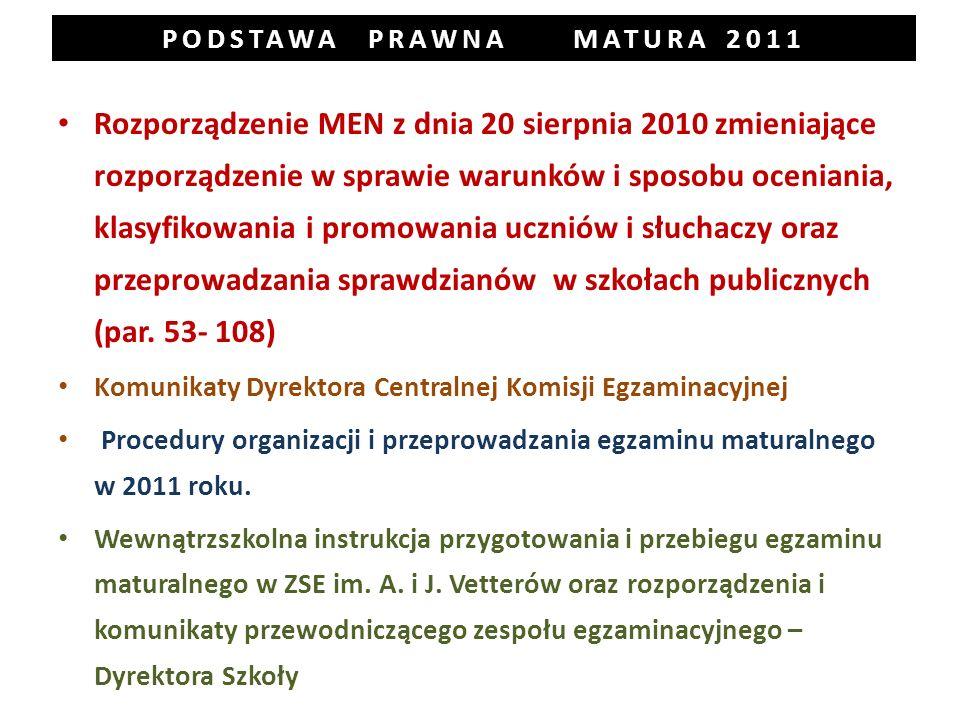 PODSTAWA PRAWNA MATURA 2011 Rozporządzenie MEN z dnia 20 sierpnia 2010 zmieniające rozporządzenie w sprawie warunków i sposobu oceniania, klasyfikowania i promowania uczniów i słuchaczy oraz przeprowadzania sprawdzianów w szkołach publicznych (par.