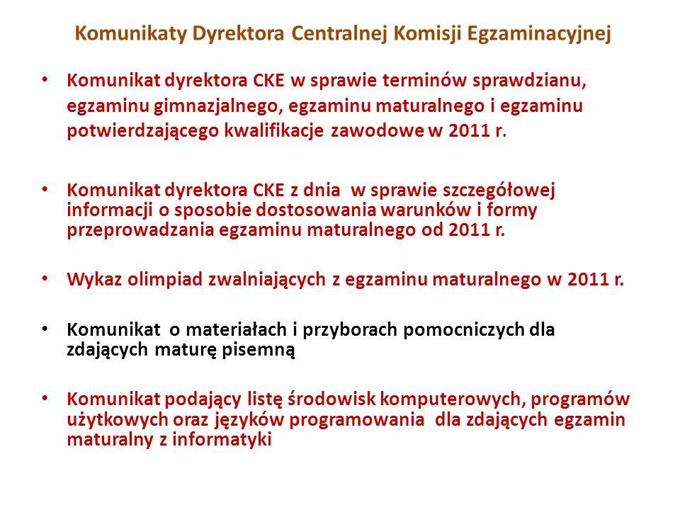 Komunikaty Dyrektora Centralnej Komisji Egzaminacyjnej Komunikat dyrektora CKE w sprawie terminów sprawdzianu, egzaminu gimnazjalnego, egzaminu maturalnego i egzaminu potwierdzającego kwalifikacje zawodowe w 2011 r.