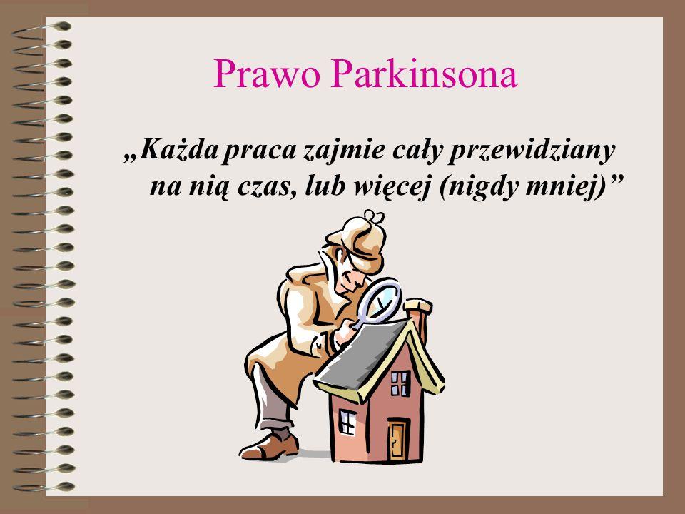 Prawo Parkinsona Każda praca zajmie cały przewidziany na nią czas, lub więcej (nigdy mniej)
