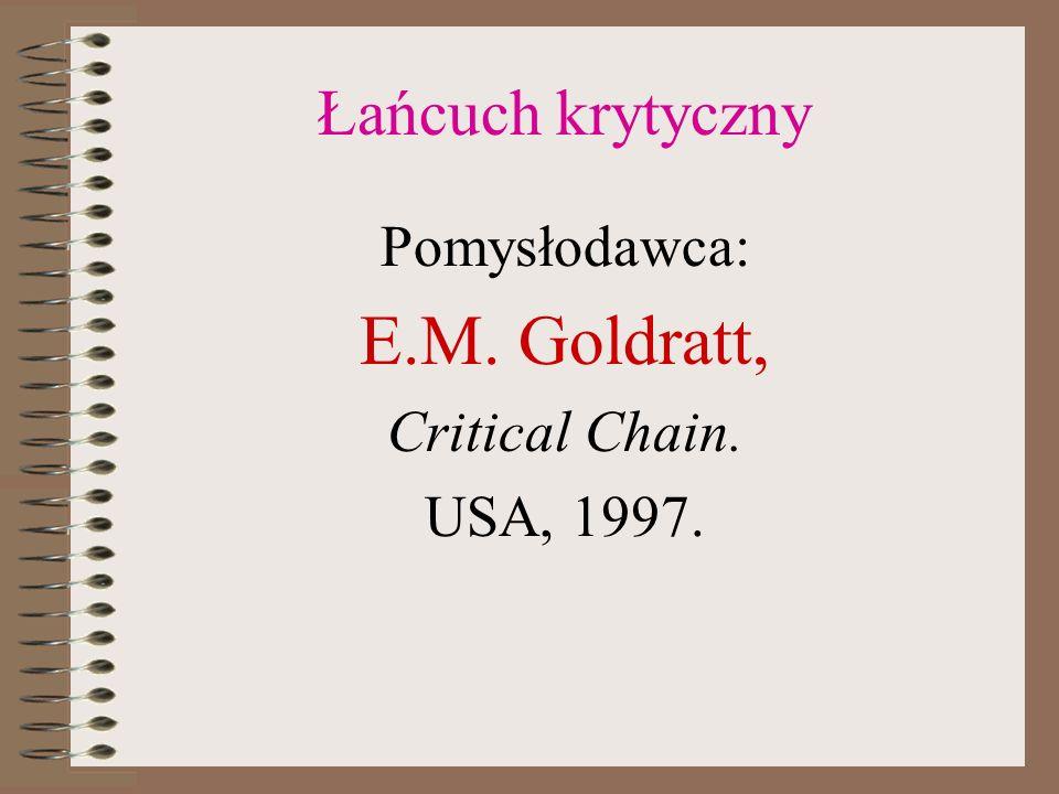 Łańcuch krytyczny Pomysłodawca: E.M. Goldratt, Critical Chain. USA, 1997.