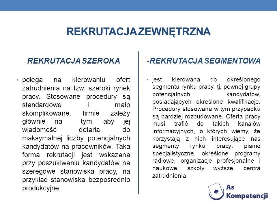 REKRUTACJA ZEWNĘTRZNA REKRUTACJA SZEROKA polega na kierowaniu ofert zatrudnienia na tzw. szeroki rynek pracy. Stosowane procedury są standardowe i mał