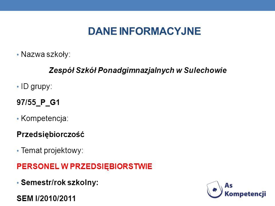DANE INFORMACYJNE Nazwa szkoły: Zespół Szkół Ponadgimnazjalnych w Sulechowie ID grupy: 97/55_P_G1 Kompetencja: Przedsiębiorczość Temat projektowy: PER