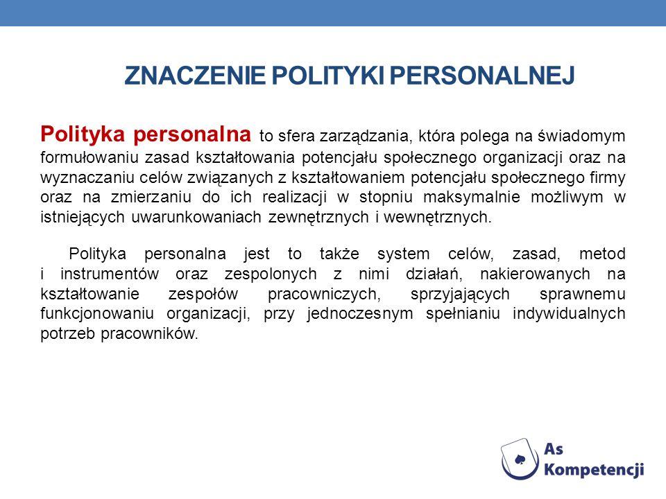 ZNACZENIE POLITYKI PERSONALNEJ Polityka personalna to sfera zarządzania, która polega na świadomym formułowaniu zasad kształtowania potencjału społecz