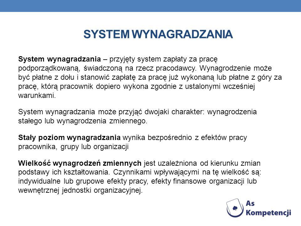 SYSTEM WYNAGRADZANIA System wynagradzania – przyjęty system zapłaty za pracę podporządkowaną, świadczoną na rzecz pracodawcy. Wynagrodzenie może być p