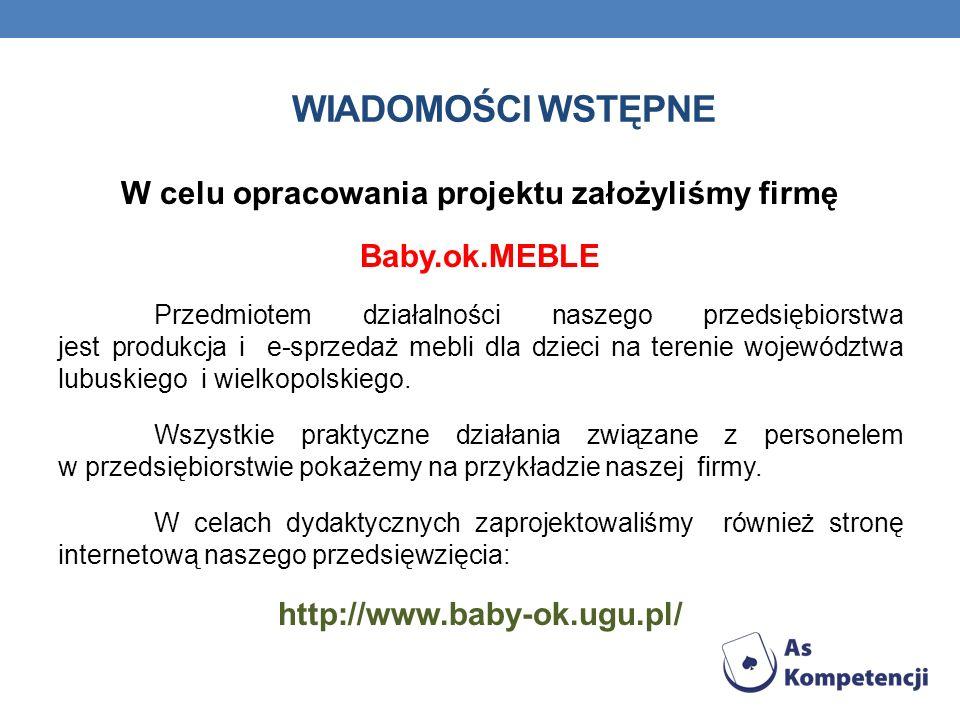 WIADOMOŚCI WSTĘPNE W celu opracowania projektu założyliśmy firmę Baby.ok.MEBLE Przedmiotem działalności naszego przedsiębiorstwa jest produkcja i e-sp
