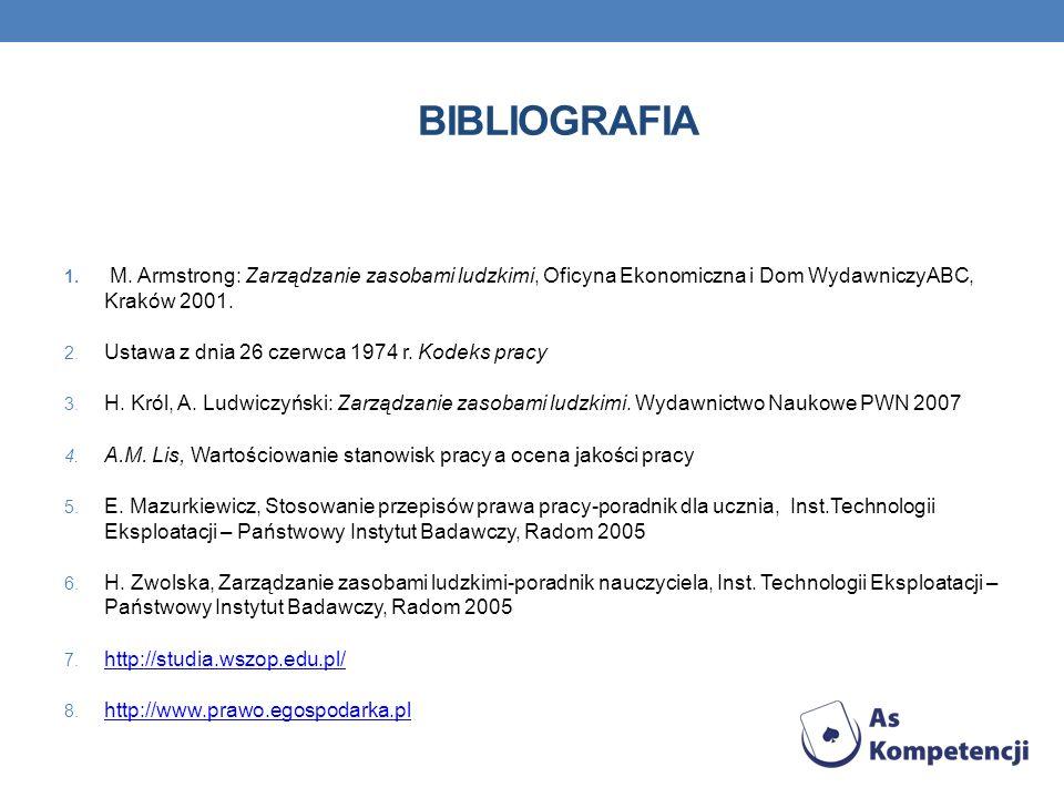 BIBLIOGRAFIA 1. M. Armstrong: Zarządzanie zasobami ludzkimi, Oficyna Ekonomiczna i Dom WydawniczyABC, Kraków 2001. 2. Ustawa z dnia 26 czerwca 1974 r.