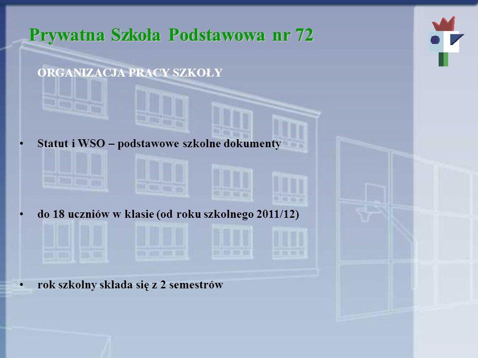 Prywatna Szkoła Podstawowa nr 72 ORGANIZACJA PRACY SZKOŁY Statut i WSO – podstawowe szkolne dokumenty do 18 uczniów w klasie (od roku szkolnego 2011/12) rok szkolny składa się z 2 semestrów