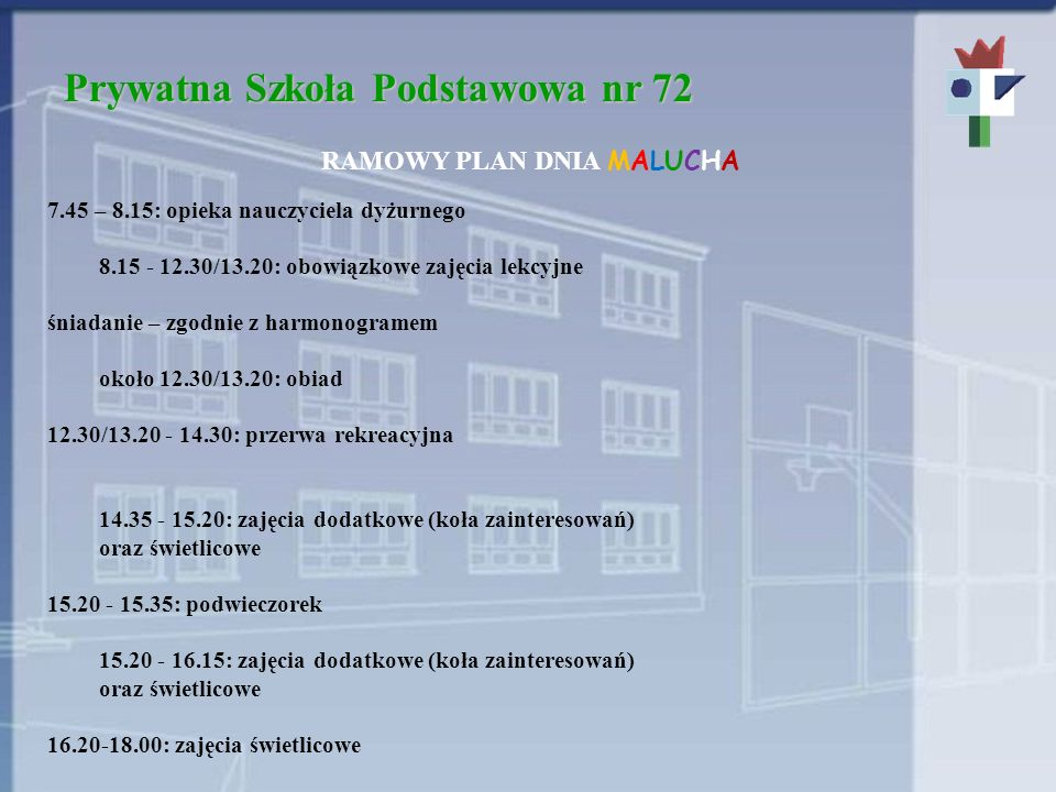 Prywatna Szkoła Podstawowa nr 72 RAMOWY PLAN DNIA MALUCHA 7.45 – 8.15: opieka nauczyciela dyżurnego 8.15 - 12.30/13.20: obowiązkowe zajęcia lekcyjne śniadanie – zgodnie z harmonogramem około 12.30/13.20: obiad 12.30/13.20 - 14.30: przerwa rekreacyjna 14.35 - 15.20: zajęcia dodatkowe (koła zainteresowań) oraz świetlicowe 15.20 - 15.35: podwieczorek 15.20 - 16.15: zajęcia dodatkowe (koła zainteresowań) oraz świetlicowe 16.20-18.00: zajęcia świetlicowe