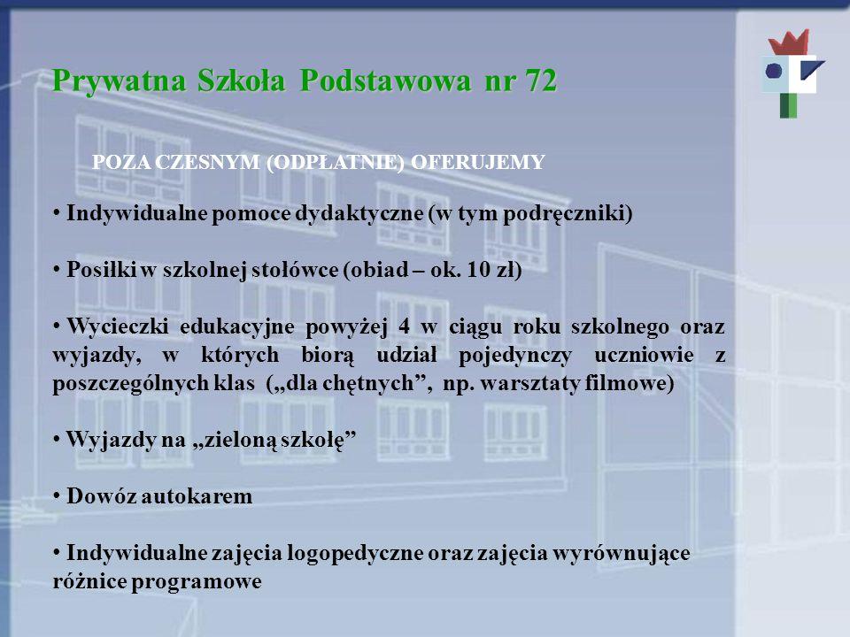 Prywatna Szkoła Podstawowa nr 72 POZA CZESNYM (ODPŁATNIE) OFERUJEMY Indywidualne pomoce dydaktyczne (w tym podręczniki) Posiłki w szkolnej stołówce (obiad – ok.