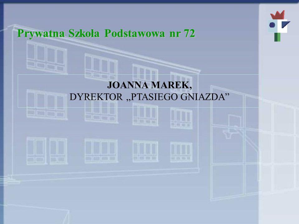 Prywatna Szkoła Podstawowa nr 72 JOANNA MAREK, DYREKTOR PTASIEGO GNIAZDA
