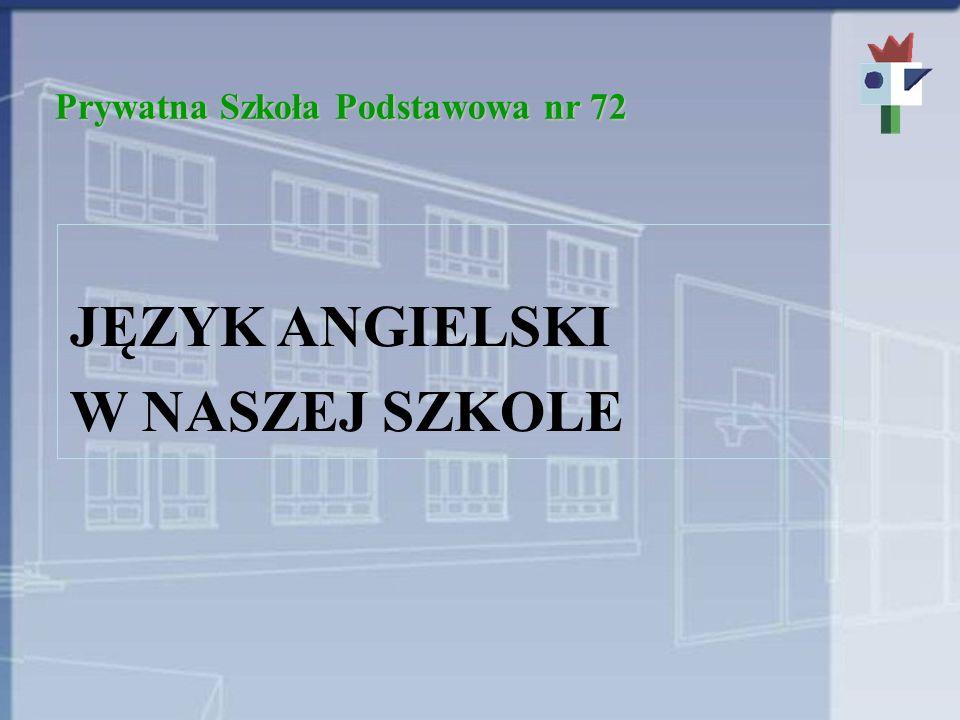 Prywatna Szkoła Podstawowa nr 72 JĘZYK ANGIELSKI W NASZEJ SZKOLE
