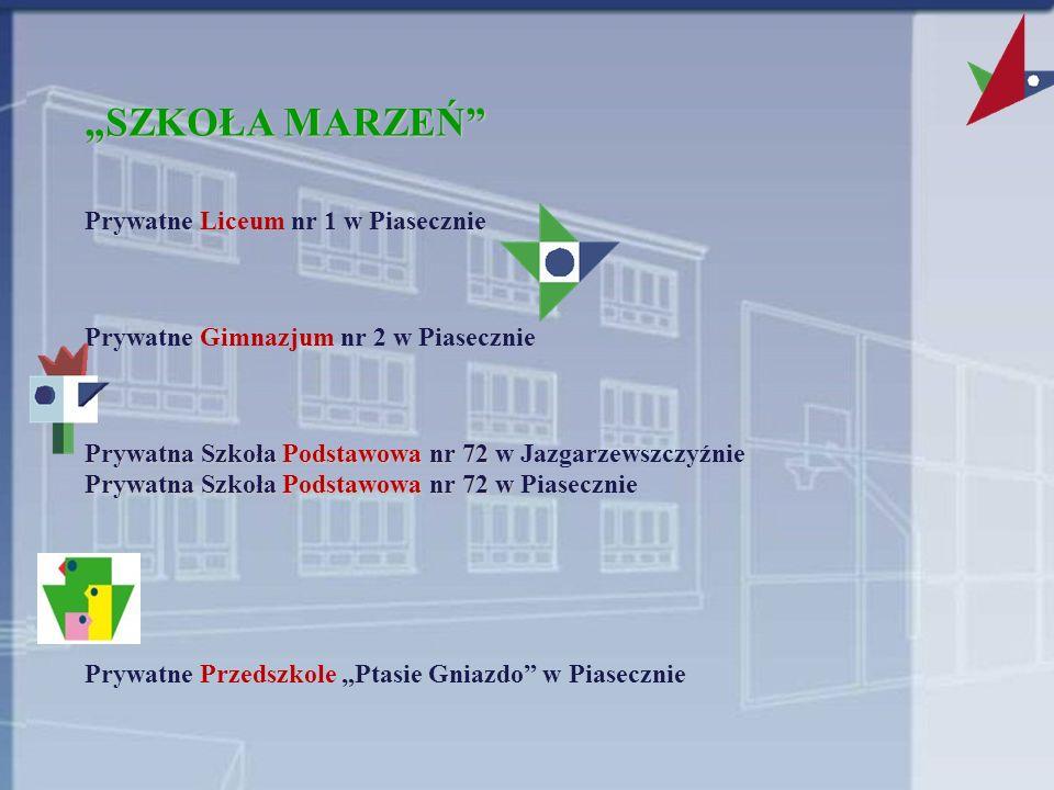 SZKOŁA MARZEŃ Prywatne Liceum nr 1 w Piasecznie Prywatne Gimnazjum nr 2 w Piasecznie Prywatna Szkoła Podstawowa nr 72 Prywatna Szkoła Podstawowa nr 72