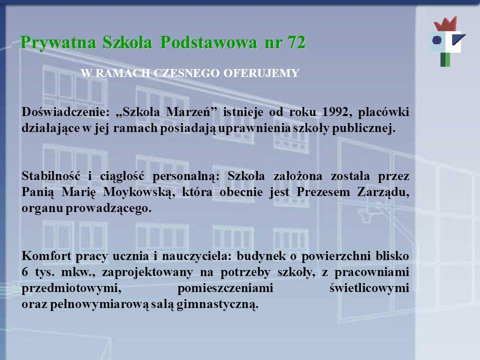 Prywatna Szkoła Podstawowa nr 72 W RAMACH CZESNEGO OFERUJEMY Doświadczenie: Szkoła Marzeń istnieje od roku 1992, placówki działające w jej ramach posi