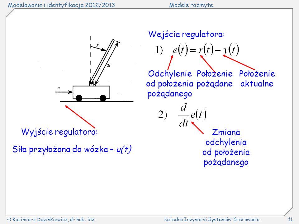 Modelowanie i identyfikacja 2012/2013Modele rozmyte Kazimierz Duzinkiewicz, dr hab. inż.Katedra Inżynierii Systemów Sterowania11 Wejścia regulatora: O