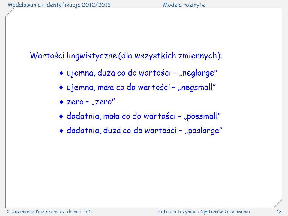 Modelowanie i identyfikacja 2012/2013Modele rozmyte Kazimierz Duzinkiewicz, dr hab. inż.Katedra Inżynierii Systemów Sterowania13 Wartości lingwistyczn