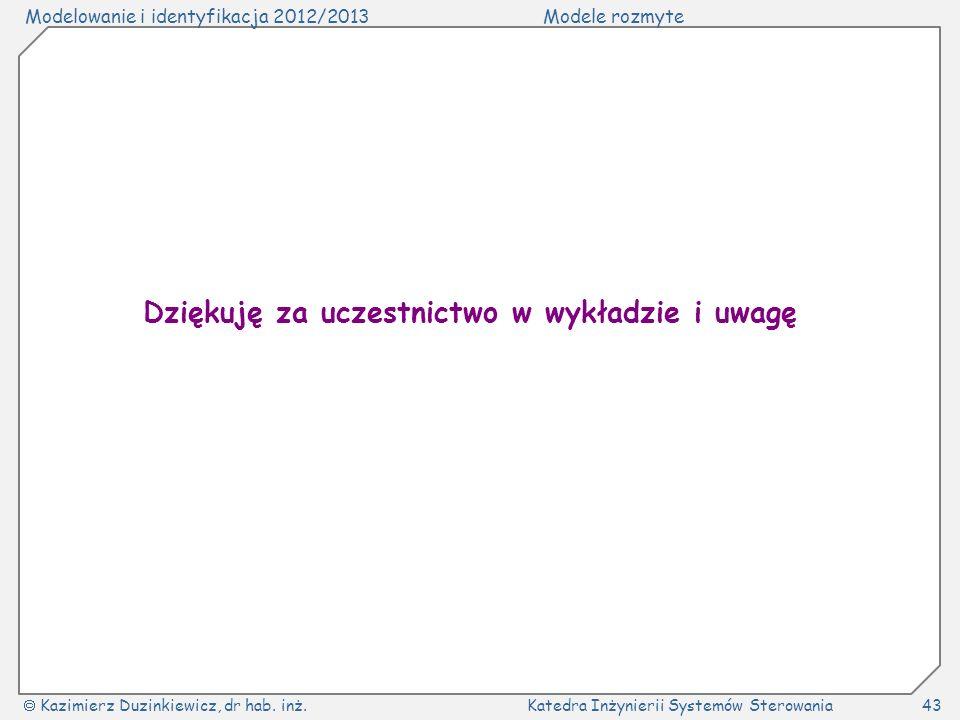 Modelowanie i identyfikacja 2012/2013Modele rozmyte Kazimierz Duzinkiewicz, dr hab. inż.Katedra Inżynierii Systemów Sterowania43 Dziękuję za uczestnic