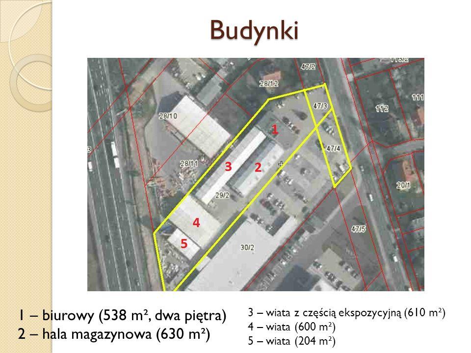 Budynki 1 – biurowy (538 m², dwa piętra) 2 – hala magazynowa (630 m²) 3 – wiata z częścią ekspozycyjną (610 m²) 4 – wiata (600 m²) 5 – wiata (204 m²)