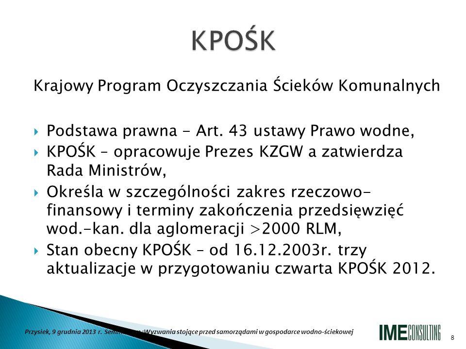 Krajowy Program Oczyszczania Ścieków Komunalnych Podstawa prawna - Art. 43 ustawy Prawo wodne, KPOŚK – opracowuje Prezes KZGW a zatwierdza Rada Minist