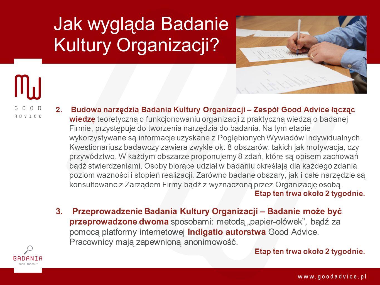 Jak wygląda Badanie Kultury Organizacji? 2. Budowa narzędzia Badania Kultury Organizacji – Zespół Good Advice łącząc wiedzę teoretyczną o funkcjonowan
