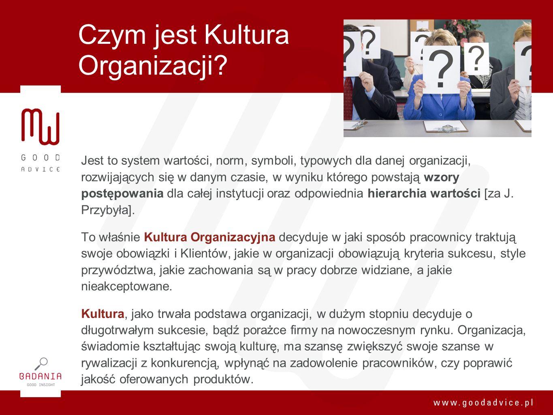 Czym jest Kultura Organizacji? Jest to system wartości, norm, symboli, typowych dla danej organizacji, rozwijających się w danym czasie, w wyniku któr