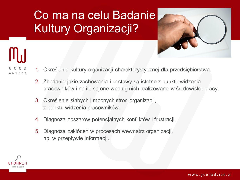 Co ma na celu Badanie Kultury Organizacji? 1. Określenie kultury organizacji charakterystycznej dla przedsiębiorstwa. 2. Zbadanie jakie zachowania i p