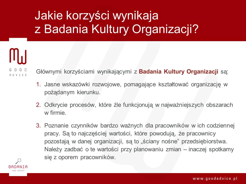 Jakie korzyści wynikaja z Badania Kultury Organizacji? Głównymi korzyściami wynikającymi z Badania Kultury Organizacji są: 1. Jasne wskazówki rozwojow