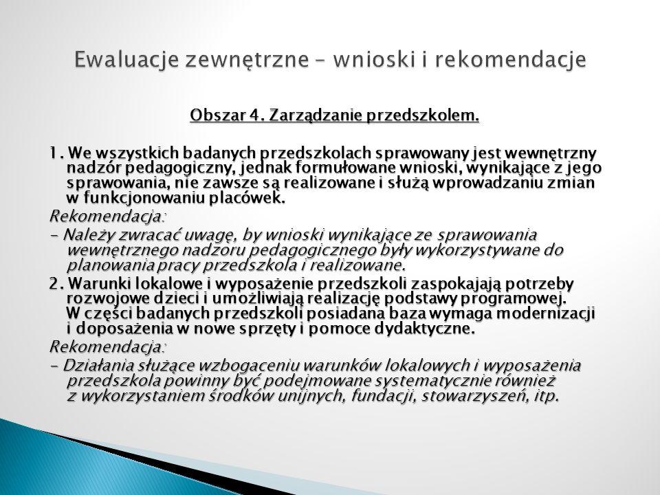 Obszar 4. Zarządzanie przedszkolem. 1. We wszystkich badanych przedszkolach sprawowany jest wewnętrzny nadzór pedagogiczny, jednak formułowane wnioski