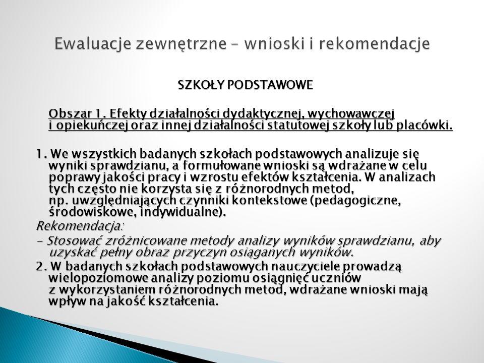 SZKOŁY PODSTAWOWE Obszar 1. Efekty działalności dydaktycznej, wychowawczej i opiekuńczej oraz innej działalności statutowej szkoły lub placówki. 1. We