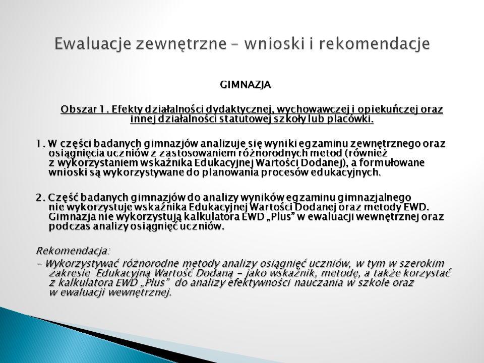 GIMNAZJA Obszar 1. Efekty działalności dydaktycznej, wychowawczej i opiekuńczej oraz innej działalności statutowej szkoły lub placówki. 1. W części ba
