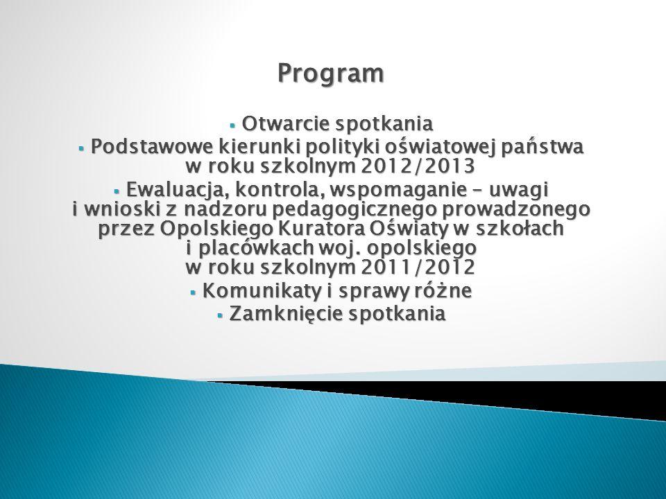 Program Otwarcie spotkania Otwarcie spotkania Podstawowe kierunki polityki oświatowej państwa w roku szkolnym 2012/2013 Podstawowe kierunki polityki o