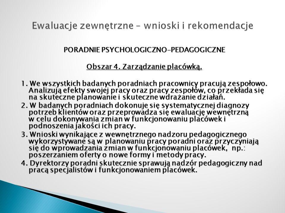 PORADNIE PSYCHOLOGICZNO-PEDAGOGICZNE Obszar 4. Zarządzanie placówką. 1. We wszystkich badanych poradniach pracownicy pracują zespołowo. Analizują efek