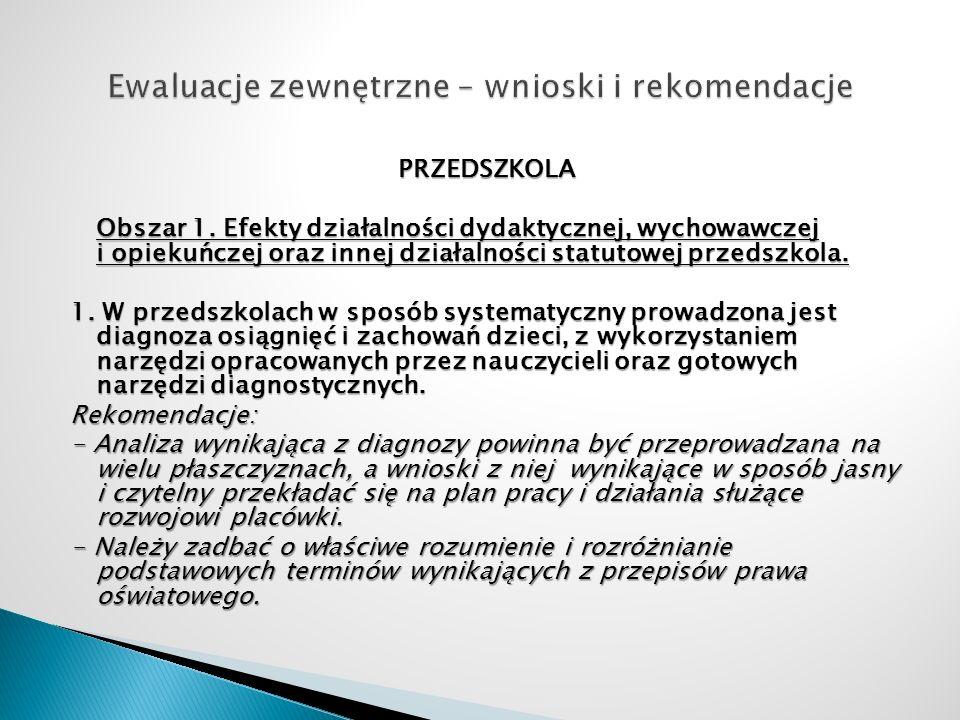 PRZEDSZKOLA Obszar 1. Efekty działalności dydaktycznej, wychowawczej i opiekuńczej oraz innej działalności statutowej przedszkola. 1. W przedszkolach