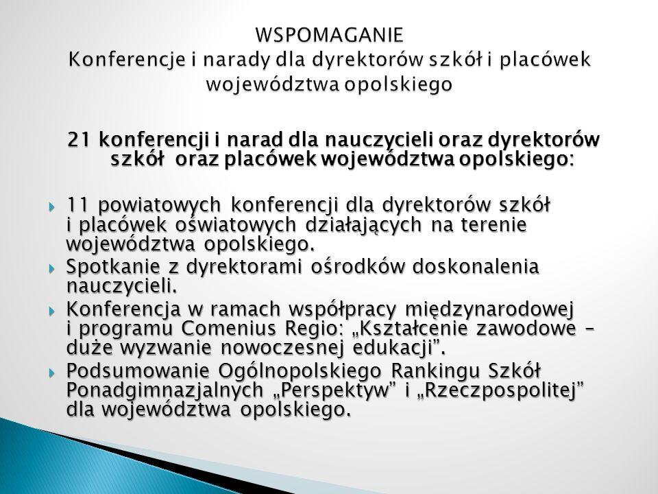 21 konferencji i narad dla nauczycieli oraz dyrektorów szkół oraz placówek województwa opolskiego: 11 powiatowych konferencji dla dyrektorów szkół i p