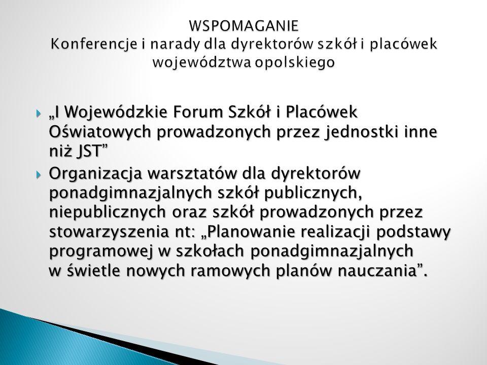 I Wojewódzkie Forum Szkół i Placówek Oświatowych prowadzonych przez jednostki inne niż JST I Wojewódzkie Forum Szkół i Placówek Oświatowych prowadzony