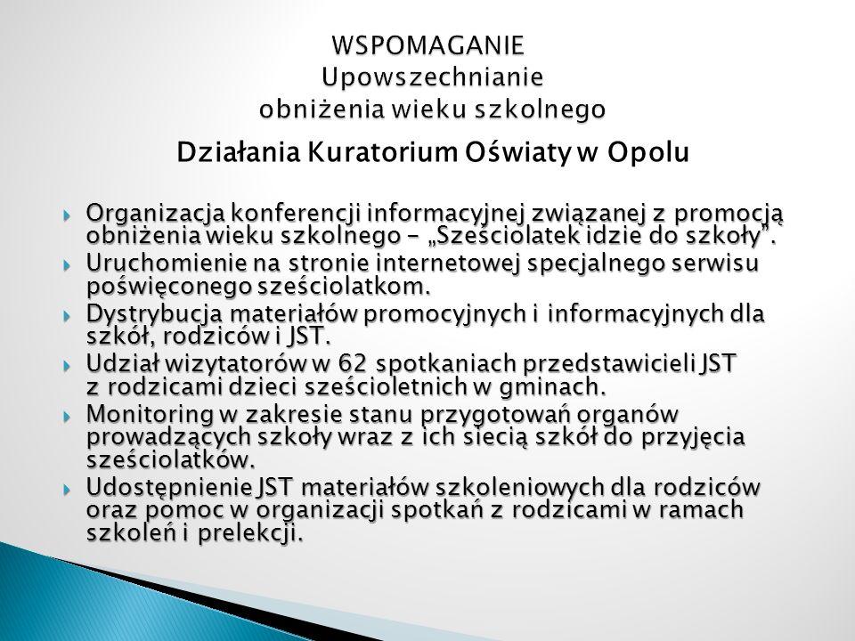 Działania Kuratorium Oświaty w Opolu Organizacja konferencji informacyjnej związanej z promocją obniżenia wieku szkolnego - Sześciolatek idzie do szko
