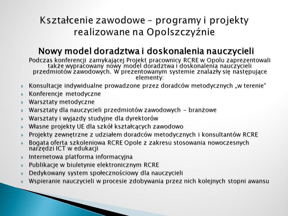 Nowy model doradztwa i doskonalenia nauczycieli Podczas konferencji zamykającej Projekt pracownicy RCRE w Opolu zaprezentowali także wypracowany nowy