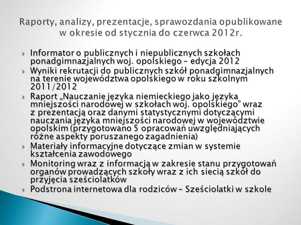 Informator o publicznych i niepublicznych szkołach ponadgimnazjalnych woj. opolskiego – edycja 2012 Informator o publicznych i niepublicznych szkołach