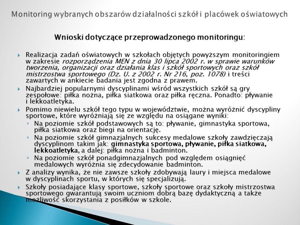 Wnioski dotyczące przeprowadzonego monitoringu: Realizacja zadań oświatowych w szkołach objętych powyższym monitoringiem w zakresie rozporządzenia MEN