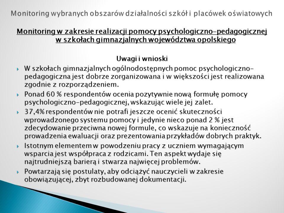 Monitoring w zakresie realizacji pomocy psychologiczno-pedagogicznej w szkołach gimnazjalnych województwa opolskiego Uwagi i wnioski W szkołach gimnaz