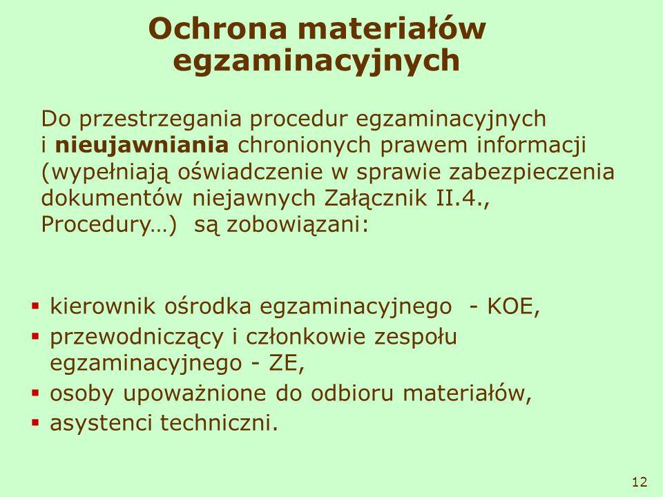 Ochrona materiałów egzaminacyjnych kierownik ośrodka egzaminacyjnego - KOE, przewodniczący i członkowie zespołu egzaminacyjnego - ZE, osoby upoważnion