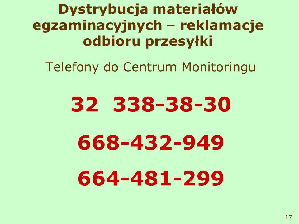 Dystrybucja materiałów egzaminacyjnych – reklamacje odbioru przesyłki Telefony do Centrum Monitoringu 32 338-38-30 668-432-949 664-481-299 17