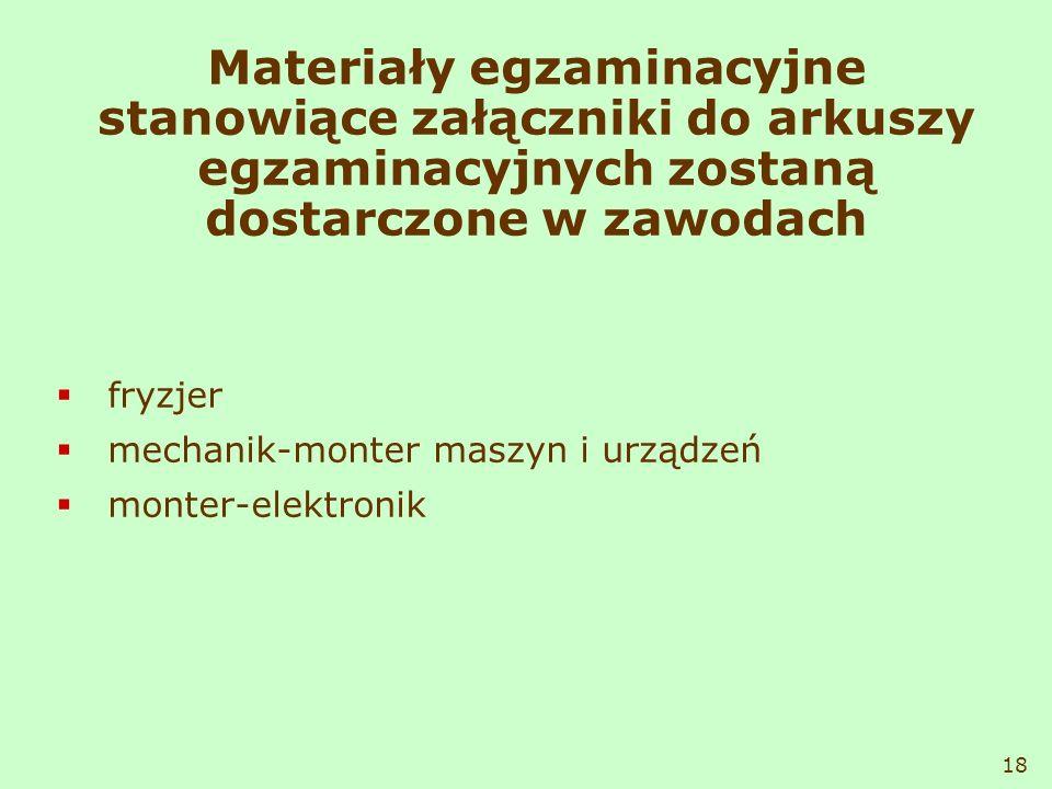 Materiały egzaminacyjne stanowiące załączniki do arkuszy egzaminacyjnych zostaną dostarczone w zawodach fryzjer mechanik-monter maszyn i urządzeń mont