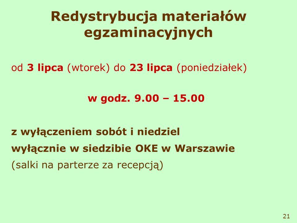 Redystrybucja materiałów egzaminacyjnych od 3 lipca (wtorek) do 23 lipca (poniedziałek) w godz. 9.00 – 15.00 z wyłączeniem sobót i niedziel wyłącznie