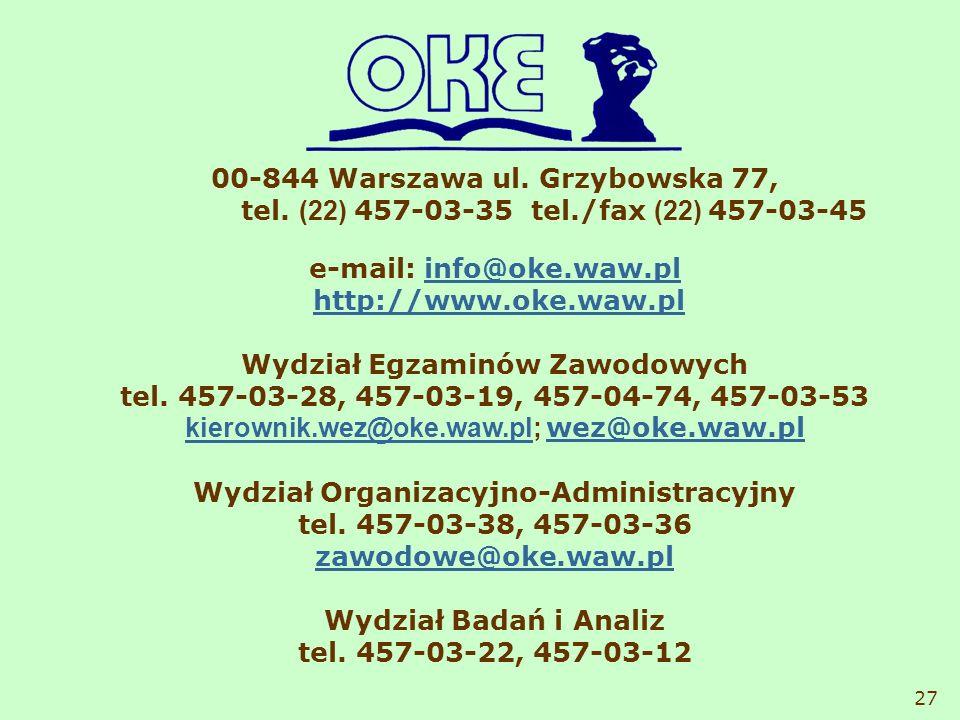 00-844 Warszawa ul. Grzybowska 77, tel. (22) 457-03-35 tel./fax (22) 457-03-45 e-mail: info@oke.waw.plinfo@oke.waw.pl http://www.oke.waw.pl Wydział Eg